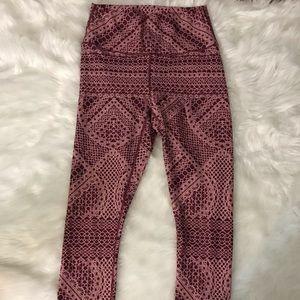 Fabletics high waisted maroon print leggings